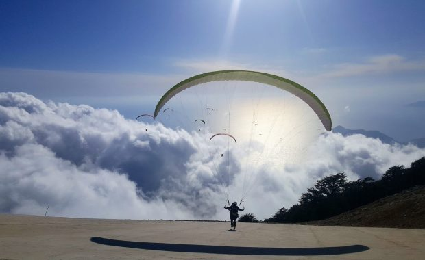 Paraglider taking off at the Asian Games