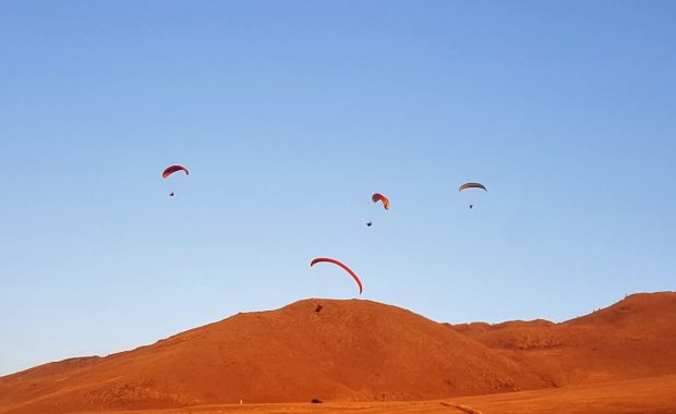 group of paragliders at golden hour