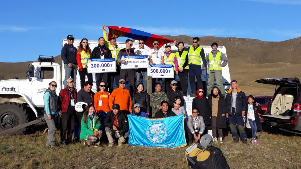 Paragliding Club Mongolia celebrate at National level paragliding competition